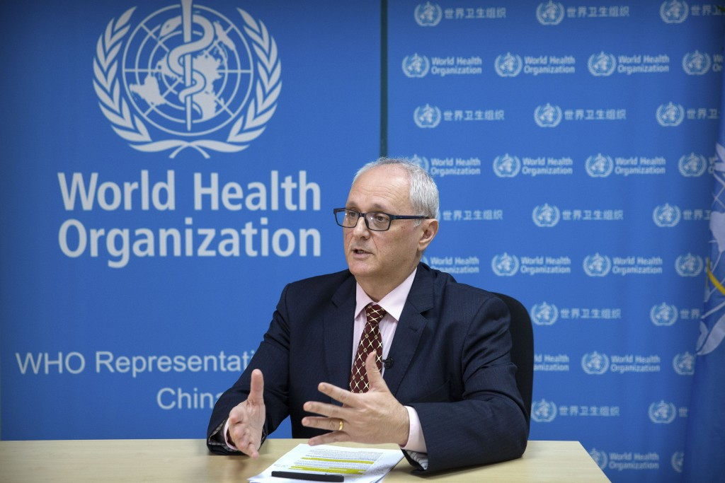 Dr. Gauden Galea, the World Health Organization (WHO) representative in China, speaks during an interview with The Associated Press at the WHO's offic...