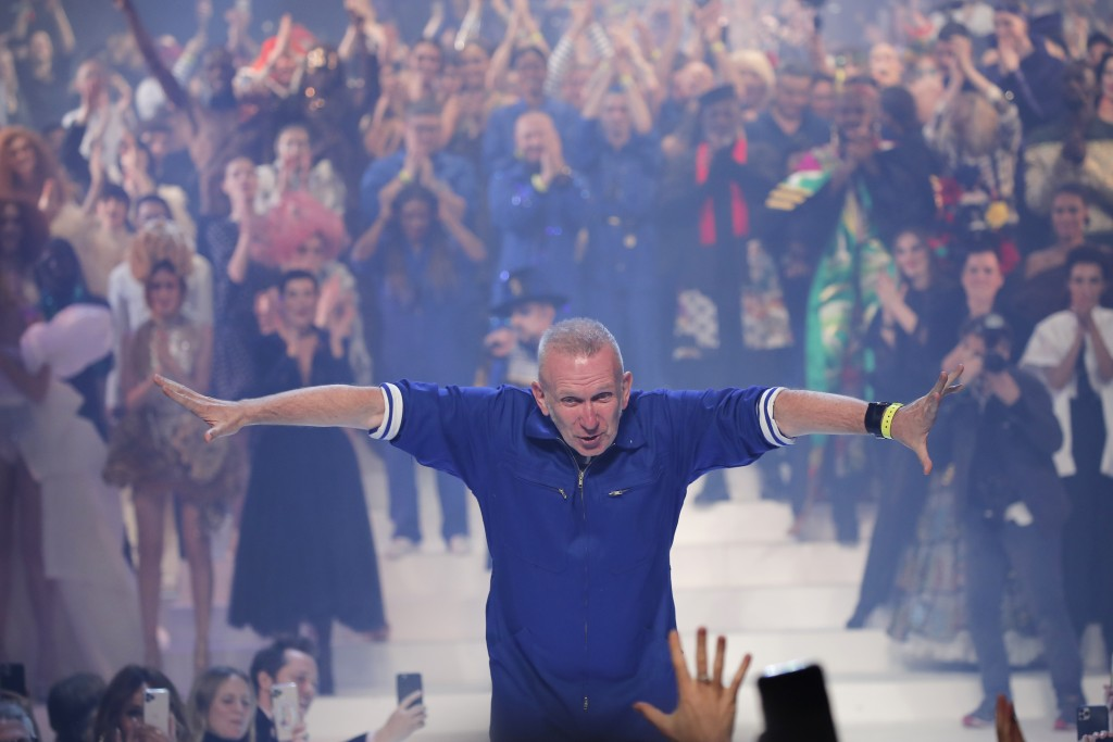 Designer Jean Paul Gaultier accepts applause after his final Haute Couture Spring/Summer 2020 fashion collection presented Wednesday Jan. 22, 2020 in ...