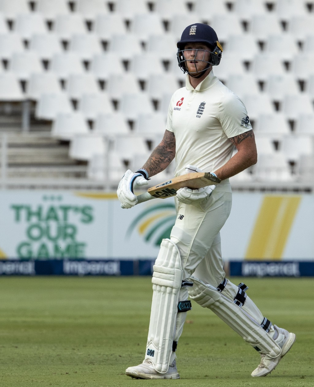 England's batsman Ben Stokes leaves the field after being dismissed by England's batsman Ben Stokes for 2 runs on day one of the fourth cricket test m...