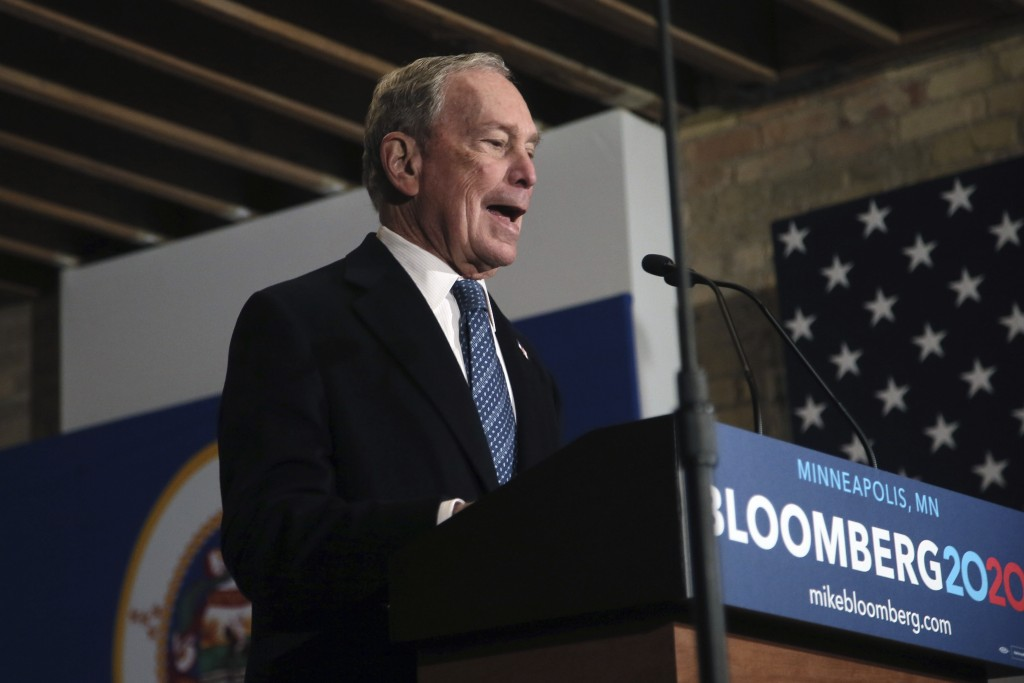 Democratic presidential candidate, former New York City Mayor Michael Bloomberg speaks to campaign workers and supporters in Minneapolis Thursday, Jan...