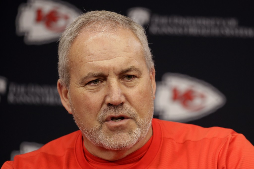 Kansas City Chiefs special teams coach Dave Toub addresses the media during an NFL football news conference Thursday, Jan. 23, 2020 at Arrowhead Stadi...