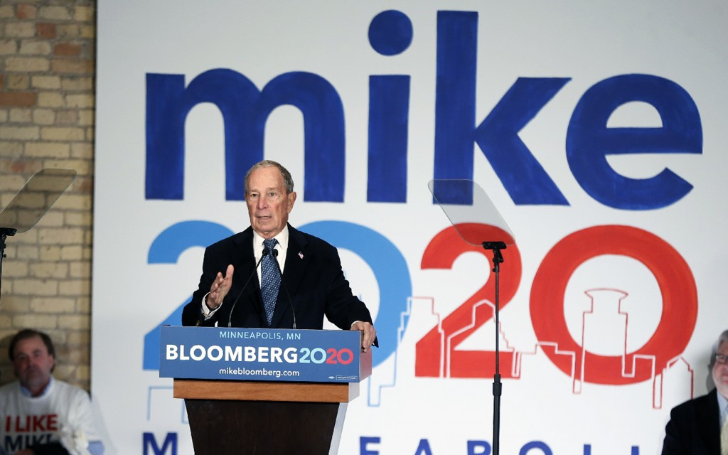 Democratic presidential candidate, former New York City Mayor Michael Bloomberg, speaks to campaign workers and supporters in Minneapolis, Thursday, J...