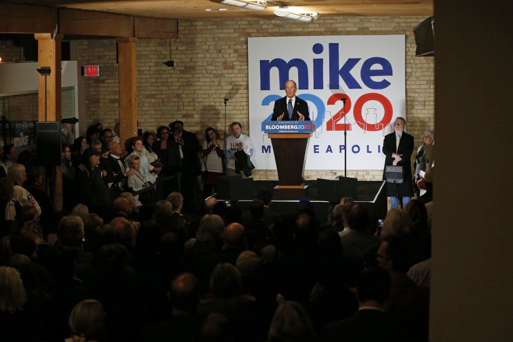 FILE - In this Thursday, Jan. 23, 2020, file photo, Democratic presidential candidate Michael Bloomberg speaks to campaign workers and supporters in M...