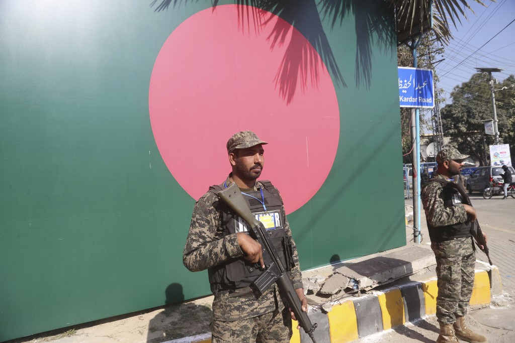 Security personnel stand guard outside the Gaddafi Stadium in Lahore, Pakistan, Friday, Jan. 24, 2020. Pakistan and Bangladesh play their first T20 of...