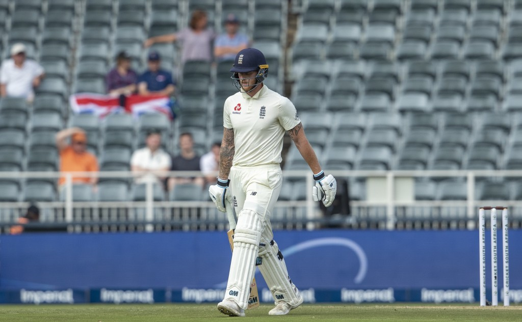 England's batsman Ben Stokes leaves the field after being dismissed by South Africa's bowler Anrich Nortje for 2 runs on day one of the fourth cricket...