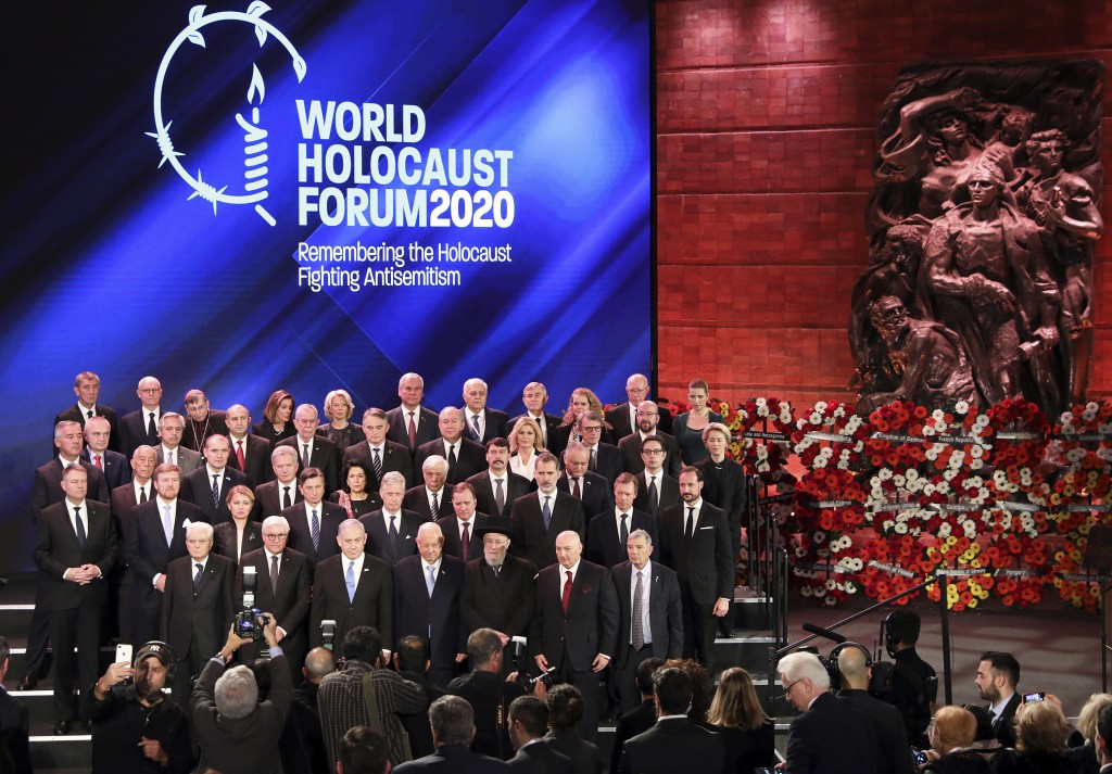 World leaders pose for a family photo during the World Holocaust Forum in Jerusalem, Thursday, Jan. 23, 2020. U.S. Vice President Mike Pence, Russian ...