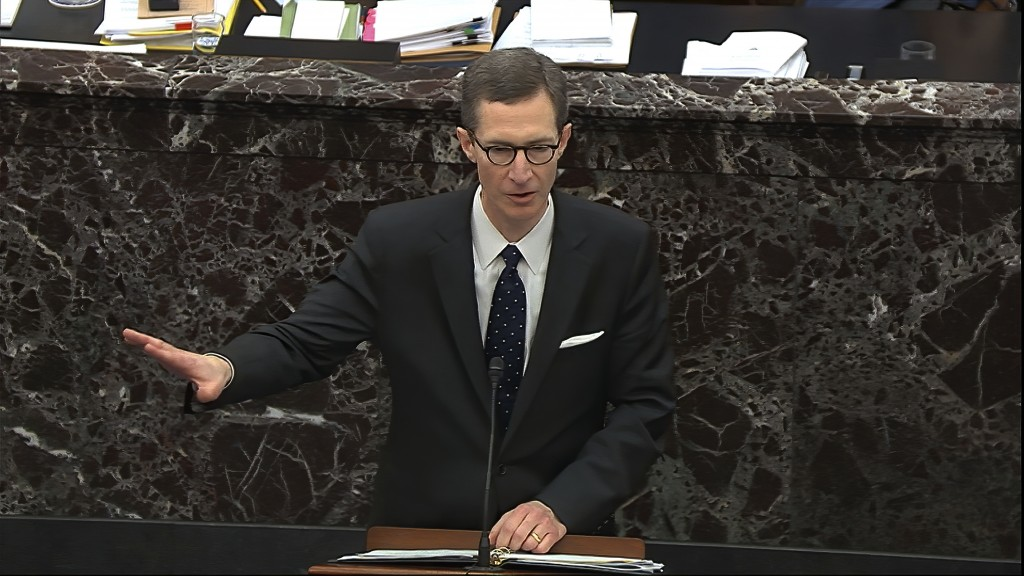 In this image from video, White House deputy counsel Patrick Philbin speaks during the impeachment trial against Trump in the Senate at the U.S. Capit...