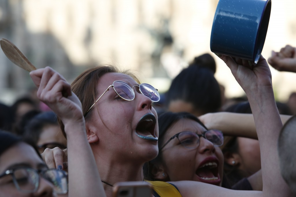 Women protest against the latest murder of two women, in Mexico City, Saturday, Jan. 25, 2020. During the past couple of weeks two women activists, at...