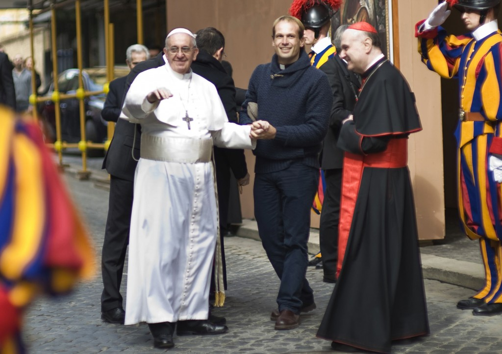 FILE - In this Sunday, March 17, 2013 filer, Pope Francis is flanked by Gonzalo Aemilius as he greets faithful at the Vatican. Pope Francis has chosen...