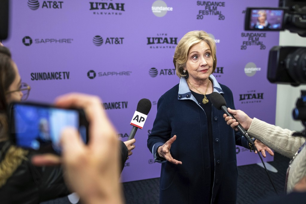 """Hillary Clinton attends the premiere of """"Hillary"""" at The Ray Theatre during the 2020 Sundance Film Festival on Saturday, Jan. 25, 2020, in Park City, ..."""