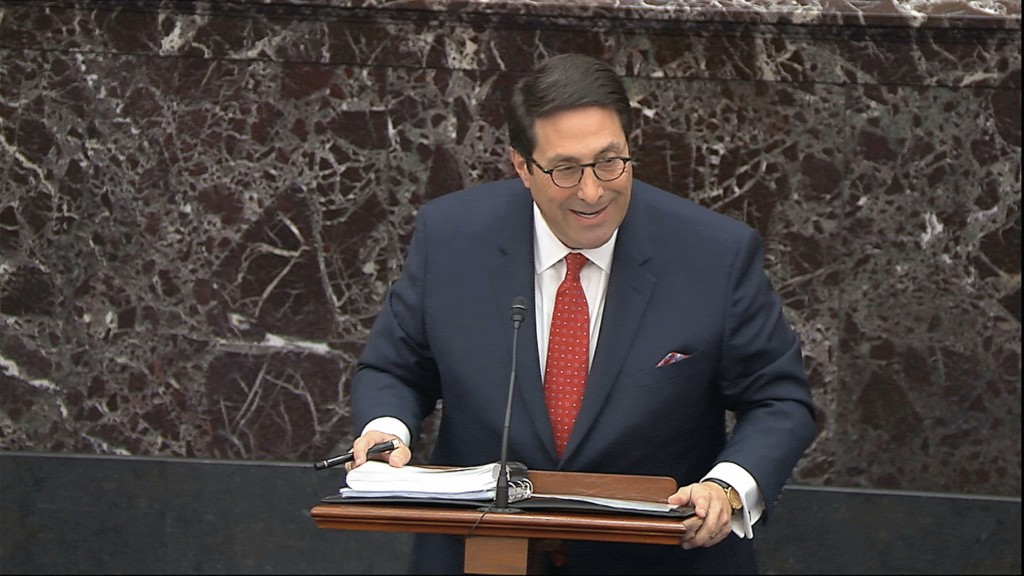 In this image from video, personal attorney to President Donald Trump, Jay Sekulow, speaks during the impeachment trial against Trump in the Senate at...