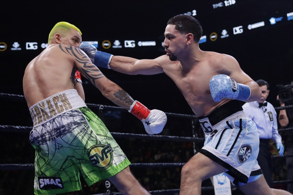 Danny Garcia punches Ukraine's Ivan Redkach during the second round of a welterweight boxing match Saturday, Jan. 25, 2020, in New York. Fulton won th...