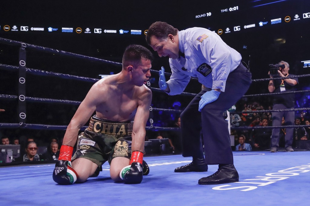 The referee counts for Francisco Santana after Santana was knocked down by Jarret Hurd during the 10th round of a super welterweight boxing match Satu...