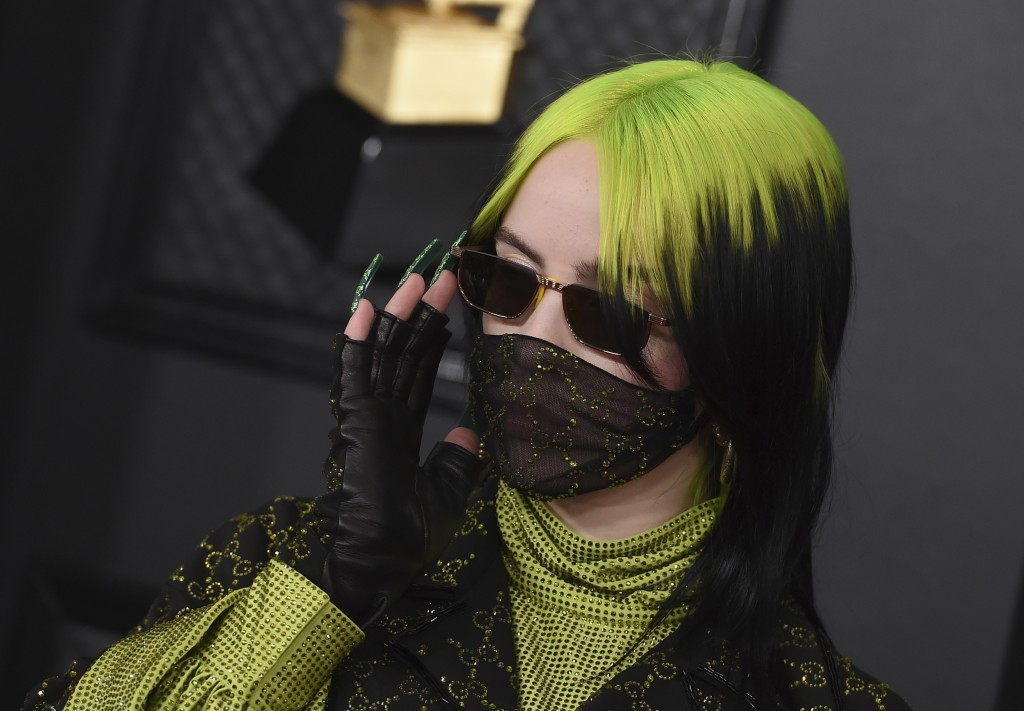 Billie Eilish arrives at the 62nd annual Grammy Awards at the Staples Center on Sunday, Jan. 26, 2020, in Los Angeles. (Photo by Jordan Strauss/Invisi...