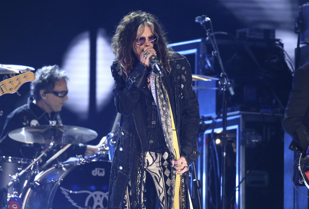 Steven Tyler, of the musical group Aerosmith, performs at the 62nd annual Grammy Awards on Sunday, Jan. 26, 2020, in Los Angeles. (Photo by Matt Sayle...