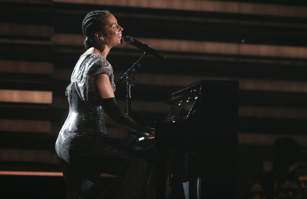 Host Alicia Keys performs at the 62nd annual Grammy Awards on Sunday, Jan. 26, 2020, in Los Angeles. (Photo by Matt Sayles/Invision/AP)