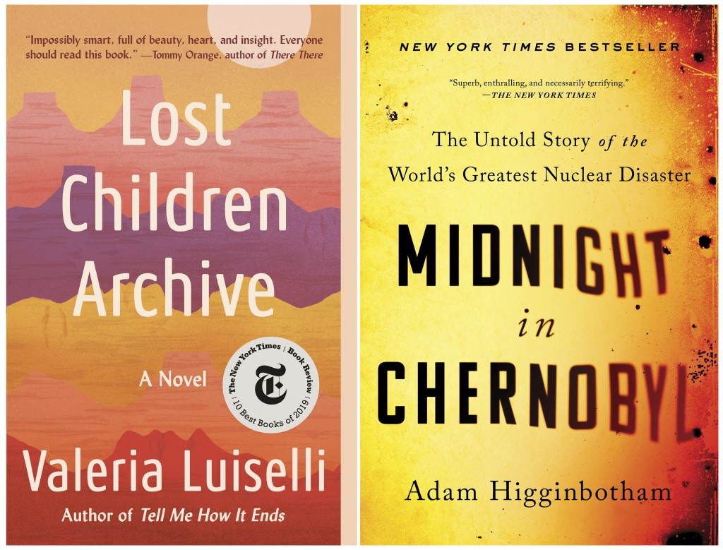 """This combination of photos shows cover images for """"Lost Children Archive"""" by Valeria Luiselli, left, and """"Midnight in Chernobyl: The Untold Story of t..."""