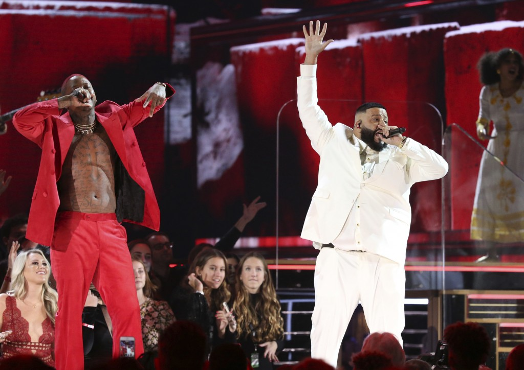 YG, left, and DJ Khaled perform during a tribute in honor of the late Nipsey Hussle at the 62nd annual Grammy Awards on Sunday, Jan. 26, 2020, in Los ...