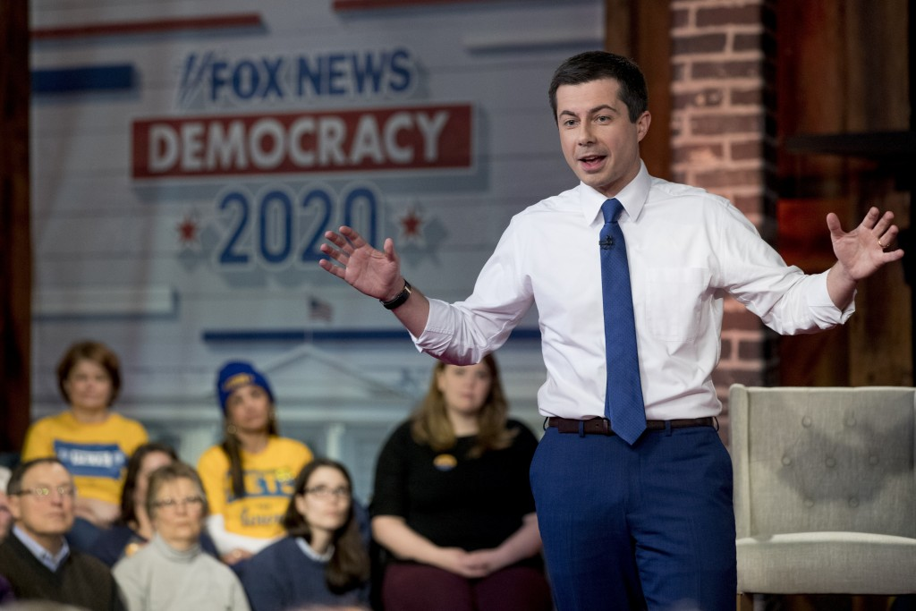 Democratic presidential candidate former South Bend, Ind., Mayor Pete Buttigieg speaks at a FOX News Channel Town Hall at the River Center, Sunday, Ja...