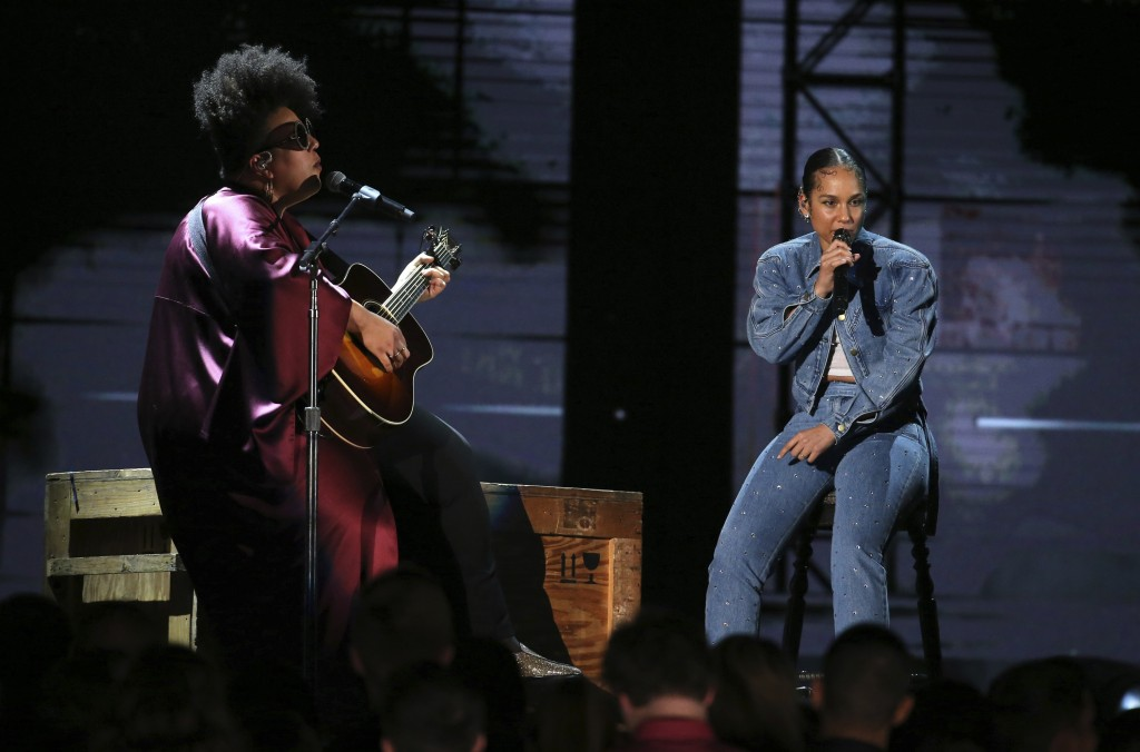 Brittany Howard, left, and Alicia Keys perform at the 62nd annual Grammy Awards on Sunday, Jan. 26, 2020, in Los Angeles. (Photo by Matt Sayles/Invisi...
