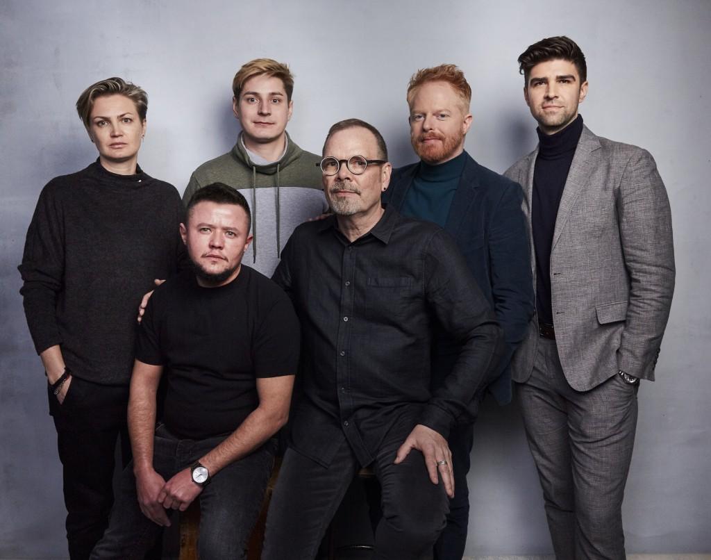 Olga Baranova, from left, David Isteev, Maxim Lapunov, director David France, executive producer Jesse Tyler Ferguson, and executive producer Justin M...