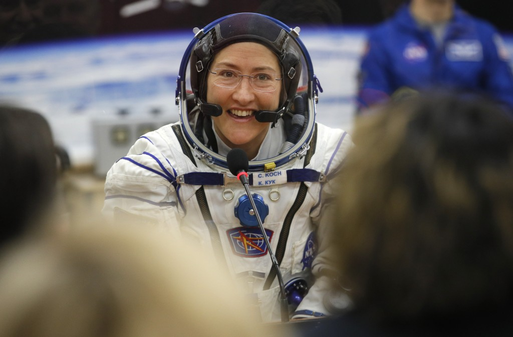 FILE - In this Thursday, March 14, 2019 file photo, U.S. astronaut Christina Koch, member of the main crew of the expedition to the International Spac...