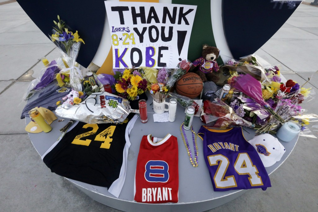 A memorial for Kobe Bryant is shown near the Vivint Smart Home Arena, Monday, Jan. 27, 2020, in Salt Lake City. Bryant, the 18-time NBA All-Star who w...