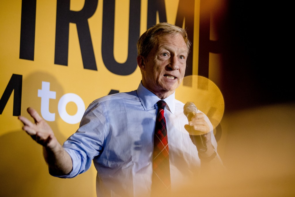 Democratic presidential candidate businessman Tom Steyer speaks at a campaign stop at the Grumpy Goat Tavern, Tuesday, Jan. 28, 2020, in Ankeny, Iowa....