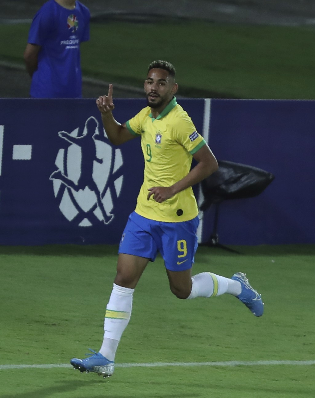 Brazil's Matheus Cunha celebrates after scoring his side's second goal against Bolivia during a South America Olympic qualifying U23 soccer matchat C