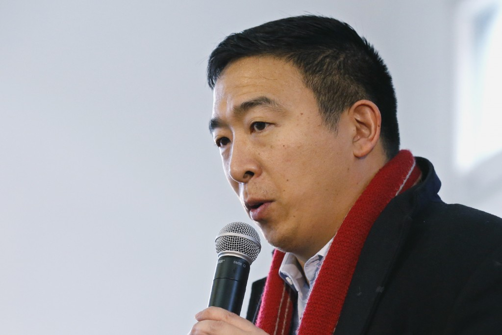 Democratic presidential candidate entrepreneur Andrew Yang speaks at a town hall meeting Tuesday, Jan. 28, 2020, in Perry, Iowa (AP Photo/Sue Ogrocki)