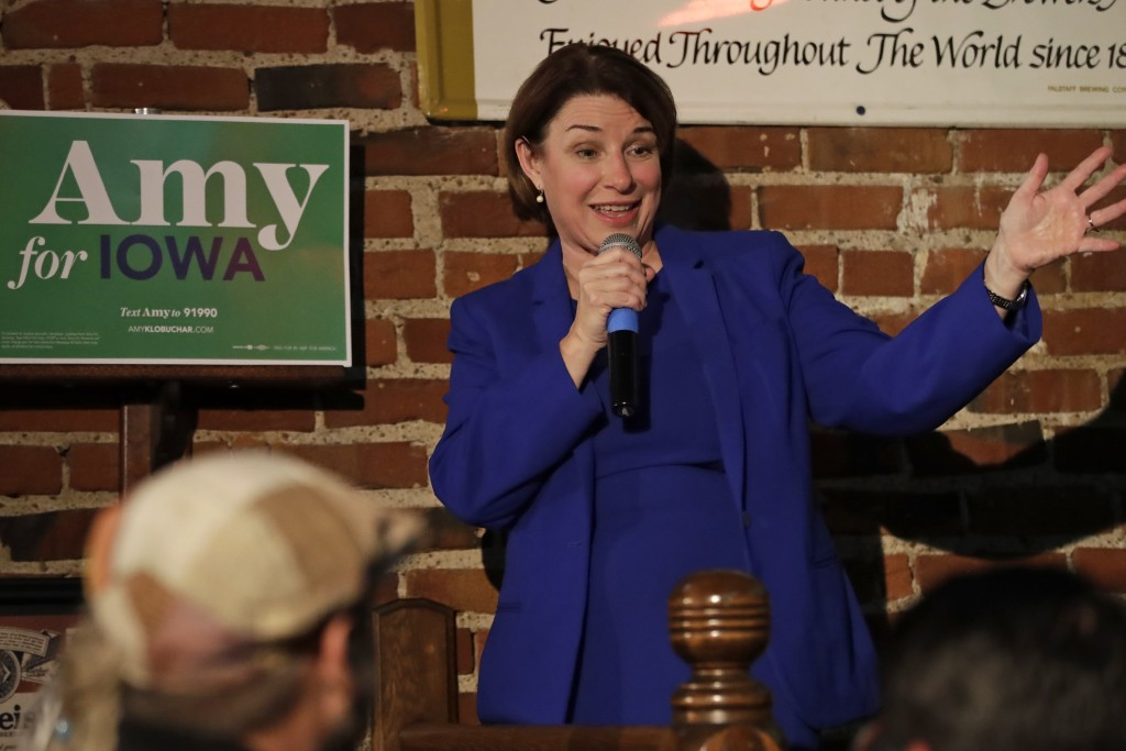 Democratic presidential candidate Sen. Amy Klobuchar, D-Minn., addresses a gathering at Barley's Taproom in Council Bluffs, Iowa, Tuesday, Jan. 28, 20...