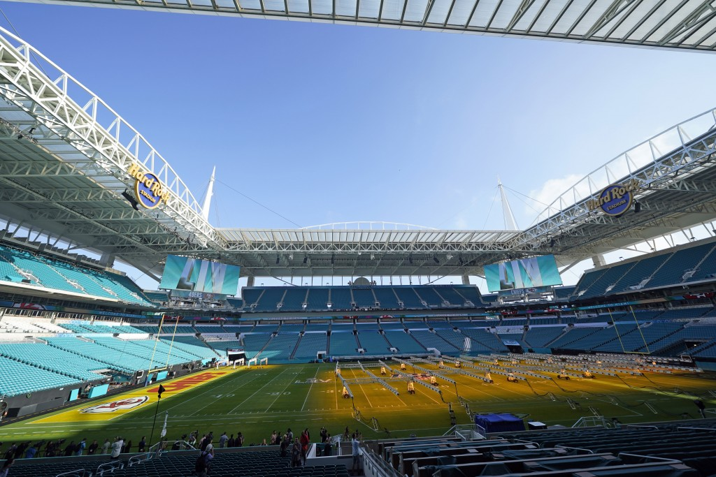 Grow lights cover a portion of the grass field inside Hard Rock Stadium Tuesday, Jan. 28, 2020, in Miami Gardens, Fla., in preparation for the NFL Sup...