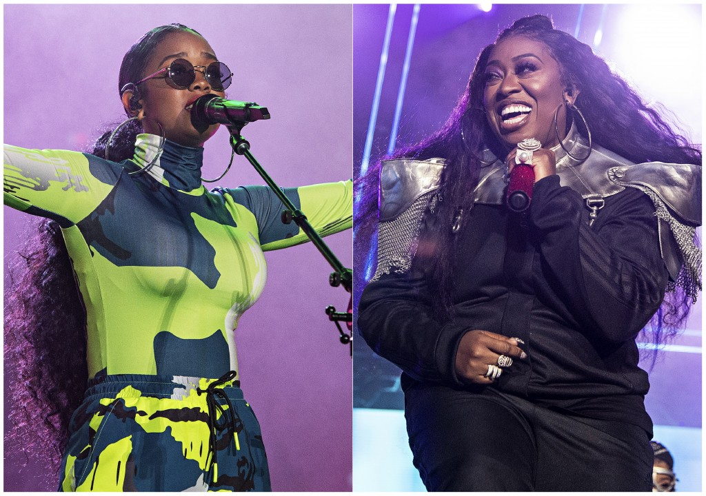 This combination photo shows H.E.R. performing at the 2019 Essence Festival in New Orleans on July 6, 2019, left, and Missy Elliott performing at the ...
