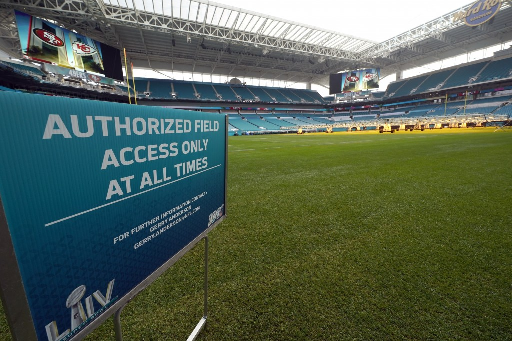 Hard Rock Stadium is shown during a tour for the media Tuesday, Jan. 28, 2020, in Miami Gardens, Fla., in preparation for the NFL Super Bowl 54 footba...