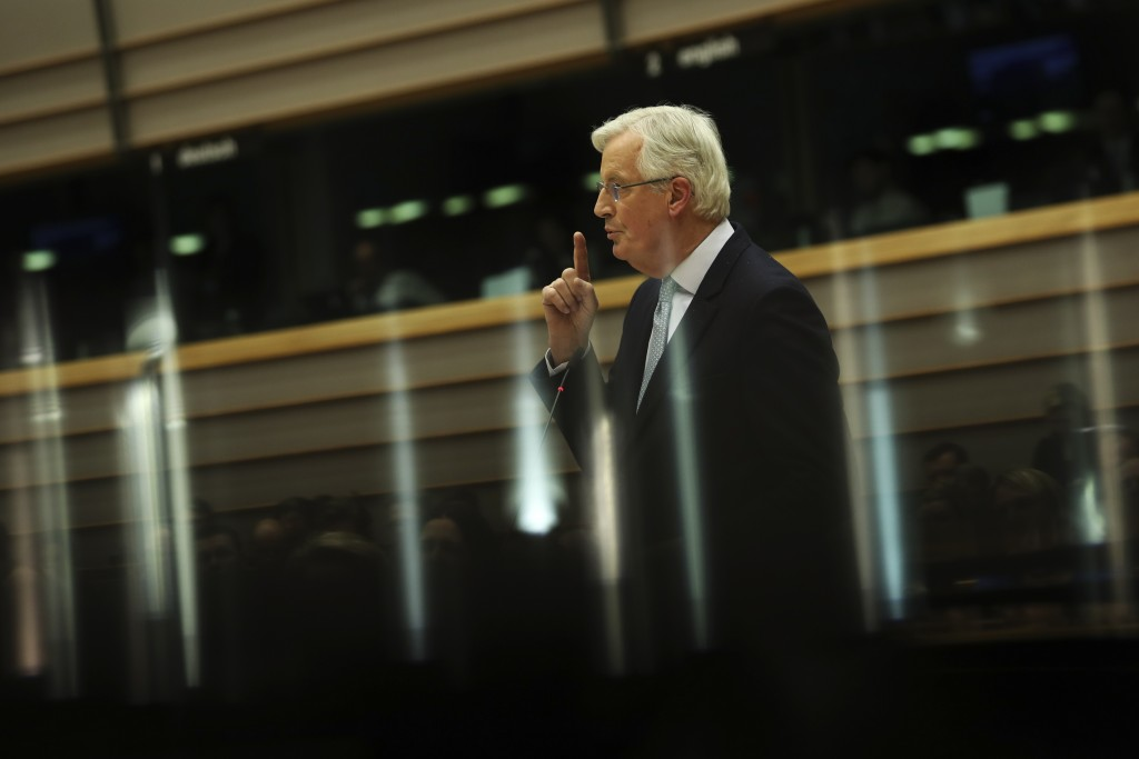European Union chief Brexit negotiator Michel Barnier speaks before a vote on the UK's withdrawal from the EU, the final legislative step in the Brexi...