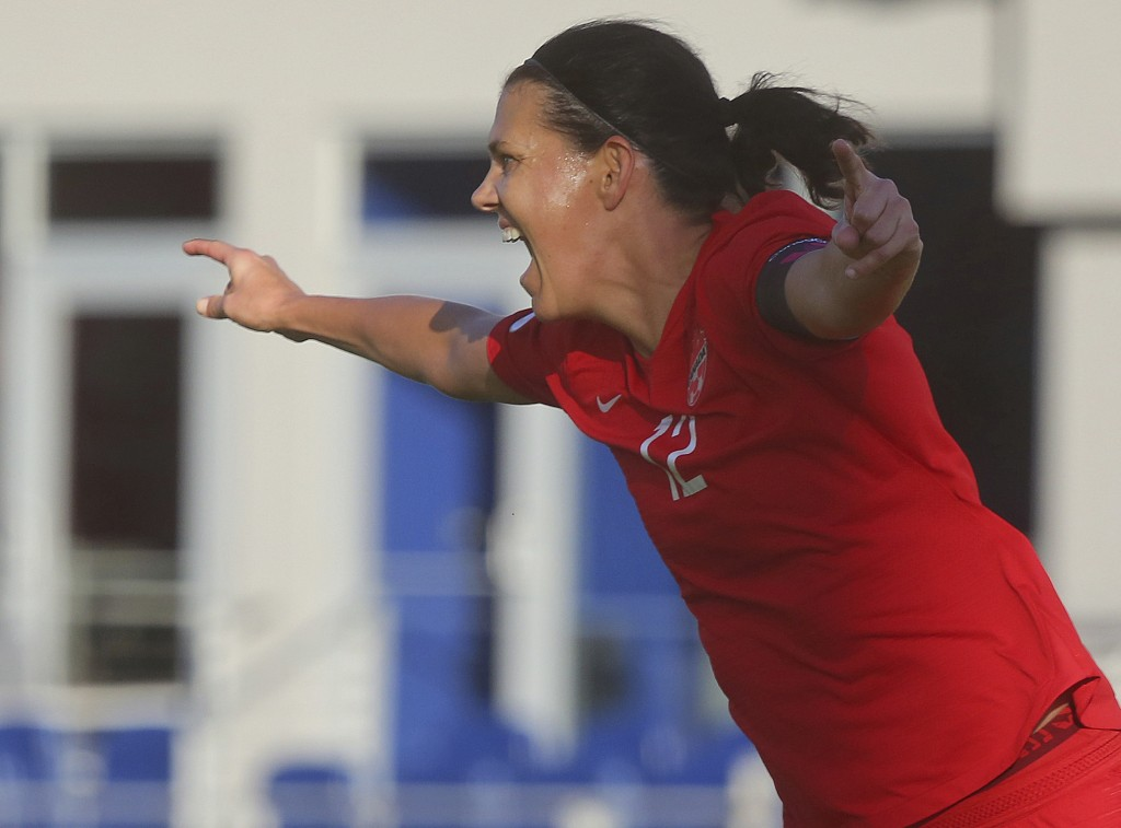 Canada's Christine Sinclair celebrates after scoring against St. Kitts and Nevis in a CONCACAF Olympic qualifying match Wednesday, Jan. 29, 2020, in E...