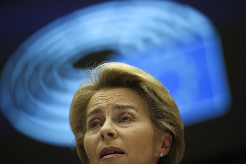 European Commission President Ursula von der Leyen addresses European lawmakers during the plenary session at the European Parliament in Brussels, Wed...