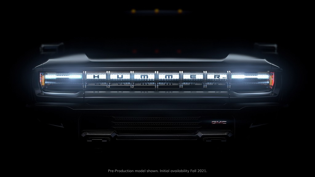 This undated image provided by General Motors shows the grill on a battery-powered Hummer pickup truck. General Motors announced Thursday, Jan. 30, 20...
