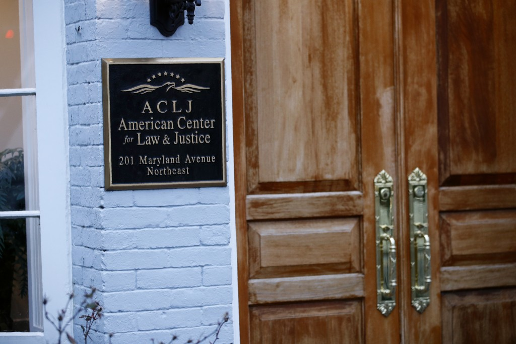 A sign marks the entrance to the American Center for Law and Justice, a non-profit Christian legal advocacy non-profit, Friday, Jan. 24, 2020, in Wash...
