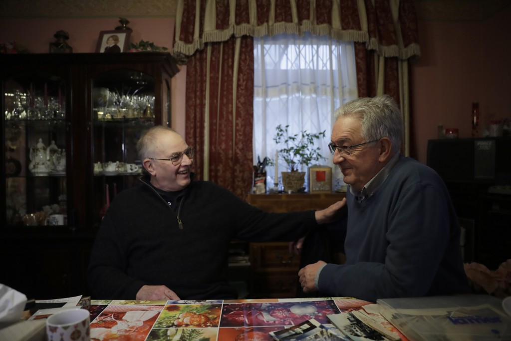Former British Channel Tunnel worker Graham Fagg, left, and Former French Channel Tunnel worker Philippe Cozette sit together during an interview with...