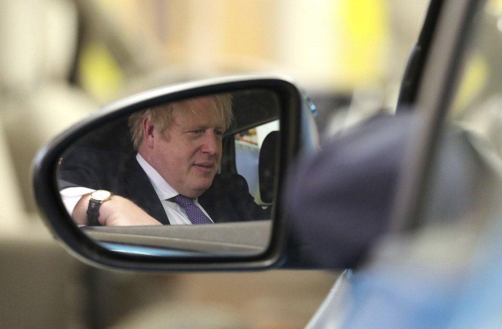 Britain's Prime Minister Boris Johnson during a visit to the Industry Centre at the University of Sunderland, on Friday Jan. 31, 2020. Britain officia...