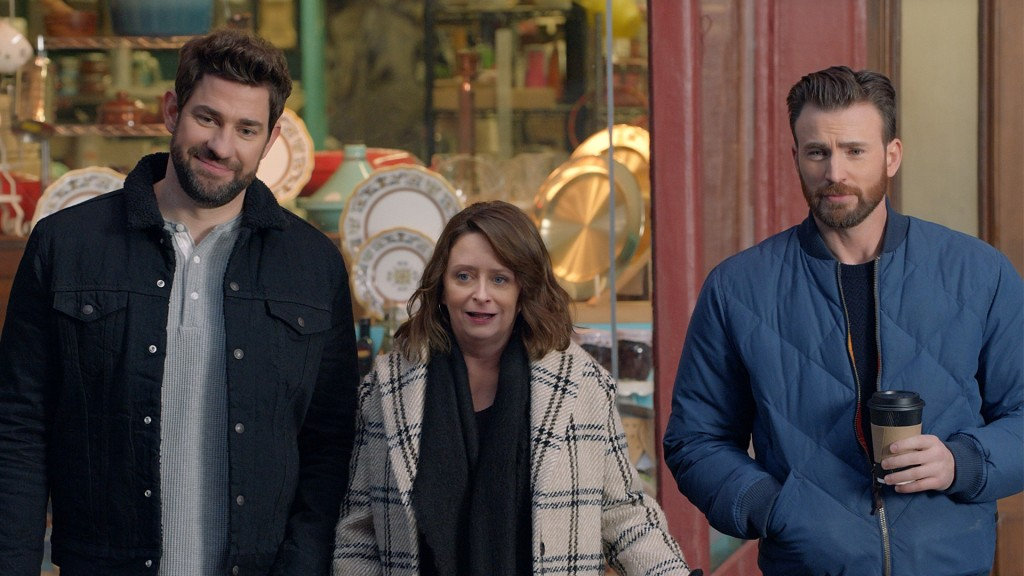This undated image provided by Hyundai Motor America shows from left John Krasinski, Rachel Dratch and Chris Evans in a scene from the company's 2020 ...