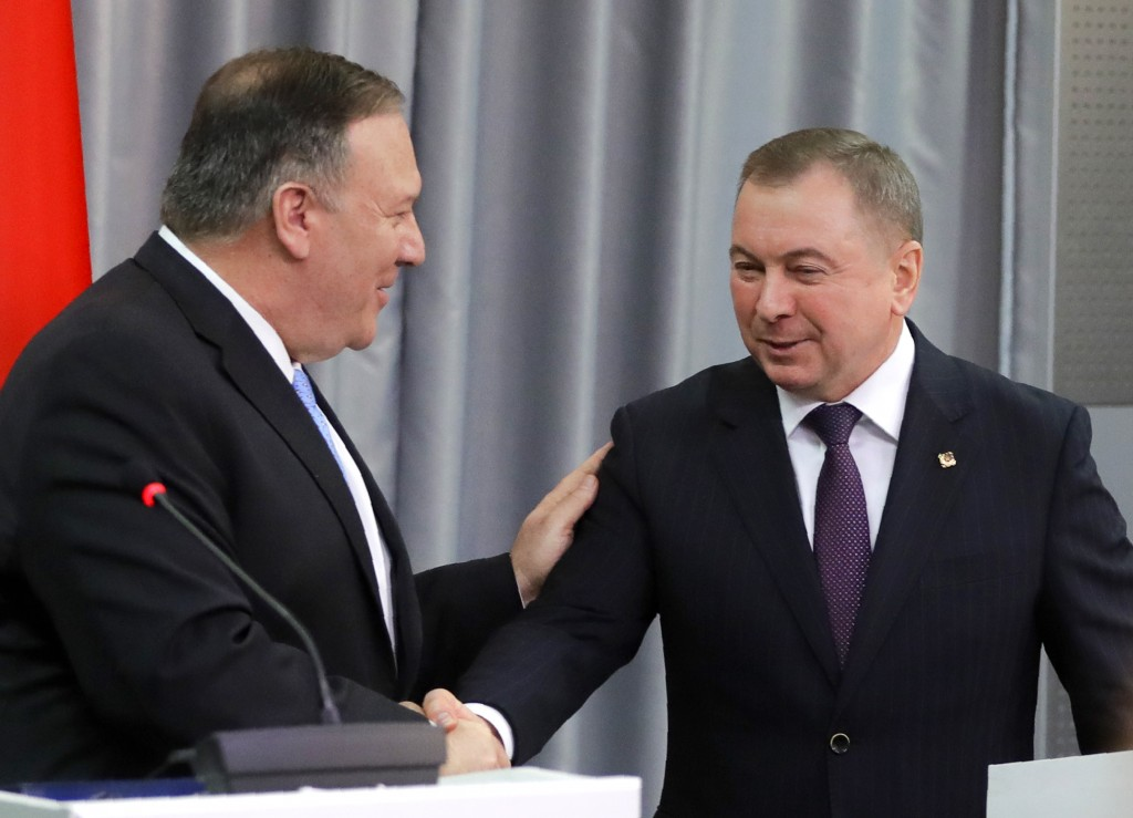 U.S. Secretary of State Mike Pompeo, left, shakes hands with Belarus Foreign Minister Vladimir Makei after their joint news conference following the t...