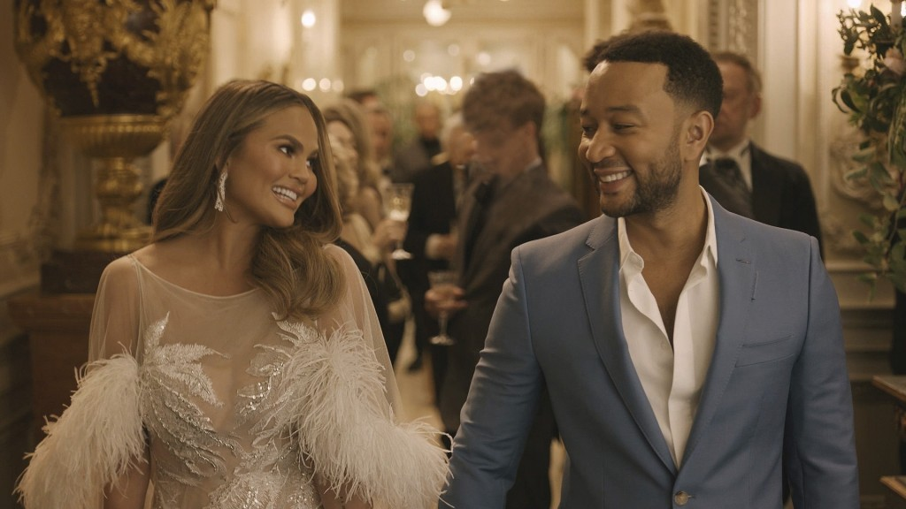 This undated image provided by Genesis shows Chrissy Teigen and her husband John Legend in a scene from the company's 2020 Super Bowl NFL football spo...