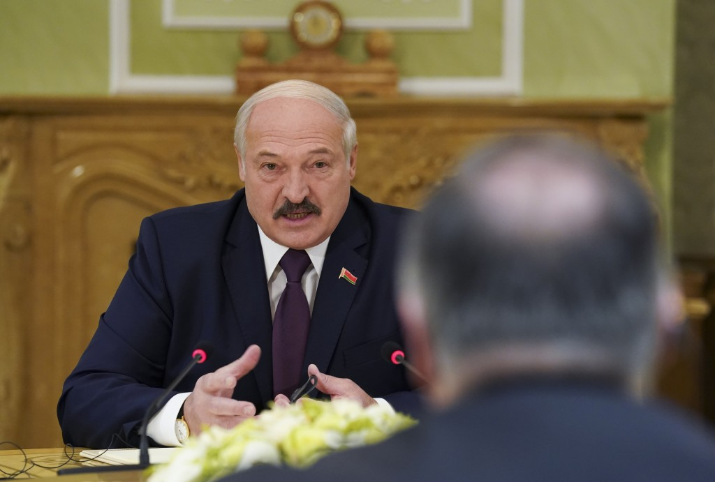 Belarusian President Alexander Lukashenko speaks during a meeting with U.S. Secretary of State Mike Pompeo in Minsk, Belarus, Saturday, Feb. 1, 2020. ...