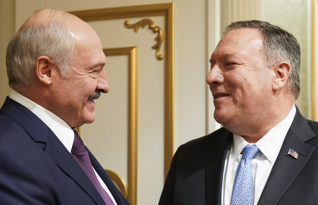 U.S. Secretary of State Mike Pompeo and Belarusian President Alexander Lukashenko attend a meeting in Minsk, Belarus, Saturday, Feb. 1, 2020. (Kevin L...