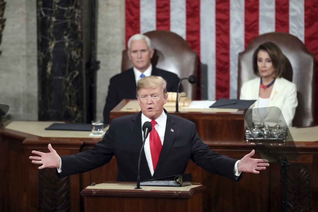 FILE - In this Feb. 5, 2019, file photo, President Donald Trump delivers his State of the Union address to a joint session of Congress on Capitol Hill...