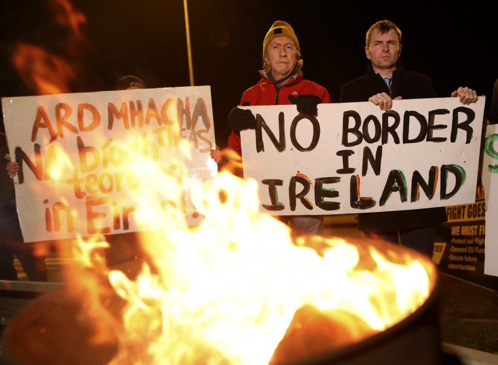 Protesters from the campaign group Border Communities Against Brexit take part in a demonstration in Carrickcarnon on the Irish border, Ireland, Frida...