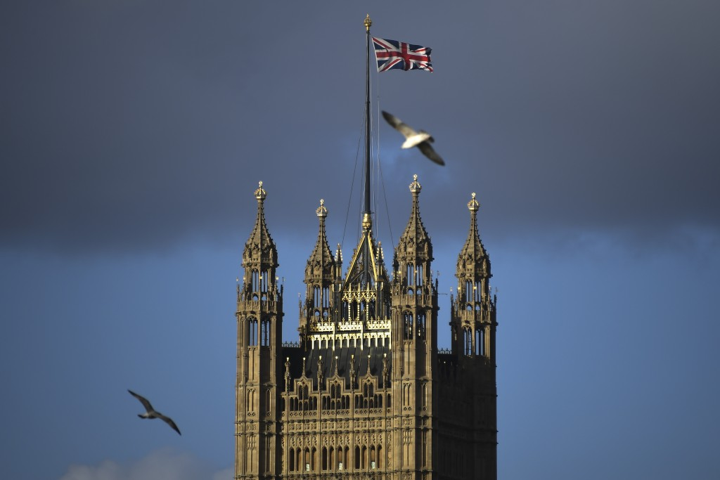 The Victoria Tower stands in Westminster, in London, Saturday, Feb. 1, 2020. Britain has officially left the European Union on Friday after a debilita...
