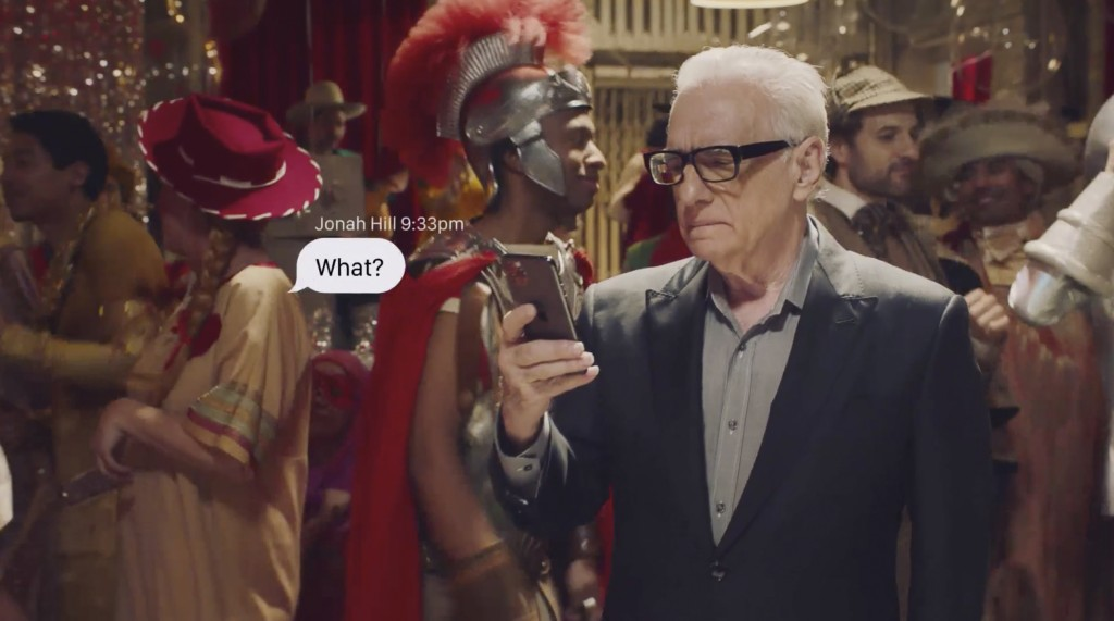 This undated image provided by Coca-Cola shows Martin Scorsese in a scene from the company's 2020 Super Bowl NFL football spot. (Coca-Cola via AP)
